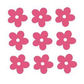Roze bloemen muurstickers - 10 stuks - 5x5cm