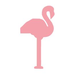Flamingo muurstickers  - 10 stuks - 12.5x6.5cm