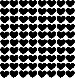 Hartjes muurstickers zwart - 80 stuks - 2x2cm