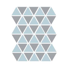 Driehoek muurstickers blauw en grijs - 45 stuks 4,5x4,5cm