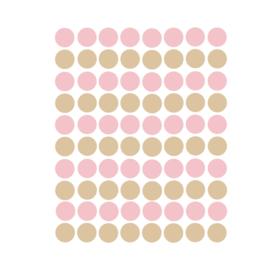 Stippen muurstickers  roze en beige - 120 stuks - 2x2cm
