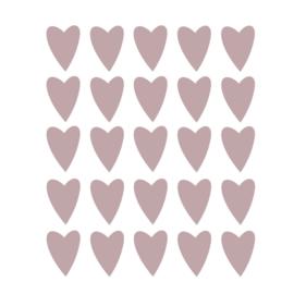 Bruin roze hartjes muurstickers - 25 stuks - 5x4cm