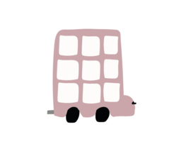 Bus muursticker oud roze - 5 stuks - 12x12cm