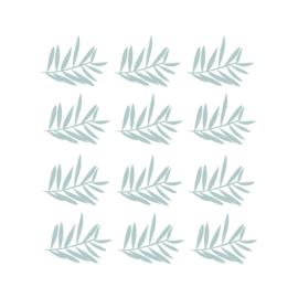 Jungly jungle - Takjes muurstickers licht blauw 12st - 12x10cm