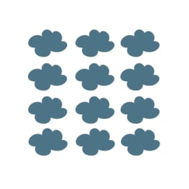 My little rainbow - Wolken muurstickers donker blauw 12st - 7x9cm
