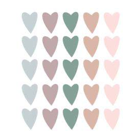 Gekleurde hartjes muurstickers - 25 stuks - 5x4cm