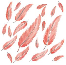 Veertjes muurstickers roze tinten - 20 stuks - 19x6cm