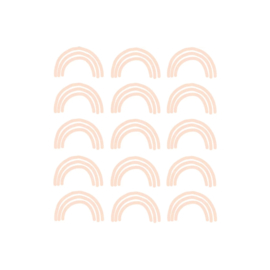 My little rainbow - Regenboog muurstickers zalm roze 15st - 6x10cm