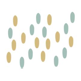 My little rainbow - Vlekken muurstickers mint groen en oker geel 20st - 1x3cm
