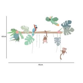 Jungly jungle - Boomstam met papegaaien en aapjes muurstickers - 95x65cm