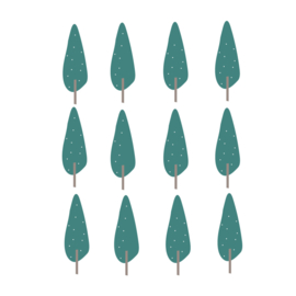 Indianen dieren - Groene bomen muurstickers 12st - 5x16cm