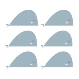 Fishie fishies - Walvissen muurstickers grijs blauw 6st - 30x16cm
