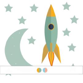 Raket muursticker met sterren en maan - 20x6cm