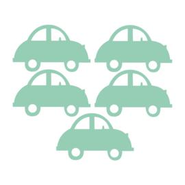Licht groene auto muurstickers - 5 stuks -16,5x10,5cm