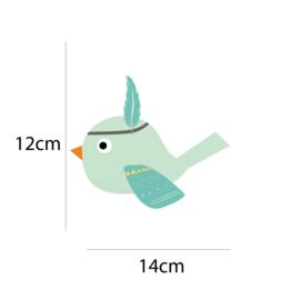 Indianen dieren - Mintgroene vogel muursticker - 14x12cm