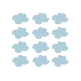 My little rainbow - Wolken muurstickers licht blauw 12st - 7x9cm