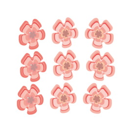 Jungly jungle - Bloemen muurstickers 9st - 5x5cm