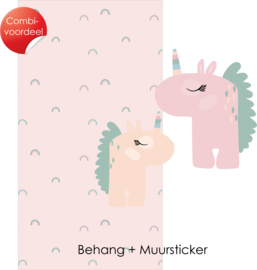 Combi Deal - My little rainbow - Roze - Behang + Muursticker