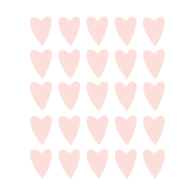 Zalm roze hartjes muurstickers - 25 stuks - 5x4cm