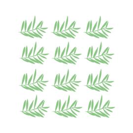 Jungly jungle - Takjes muurstickers groen 12st - 12x10cm
