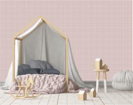 Ruitjes behang - Oud roze - 10meter