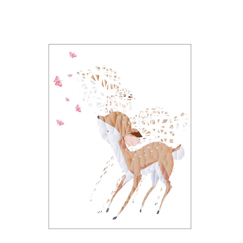 Diamond Forest Friends - hert met vlinders - Poster A4/A3