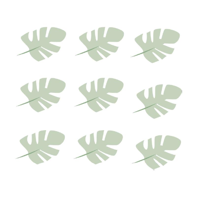 Jungly jungle - Bladeren muurstickers licht leger groen - 10x7cm