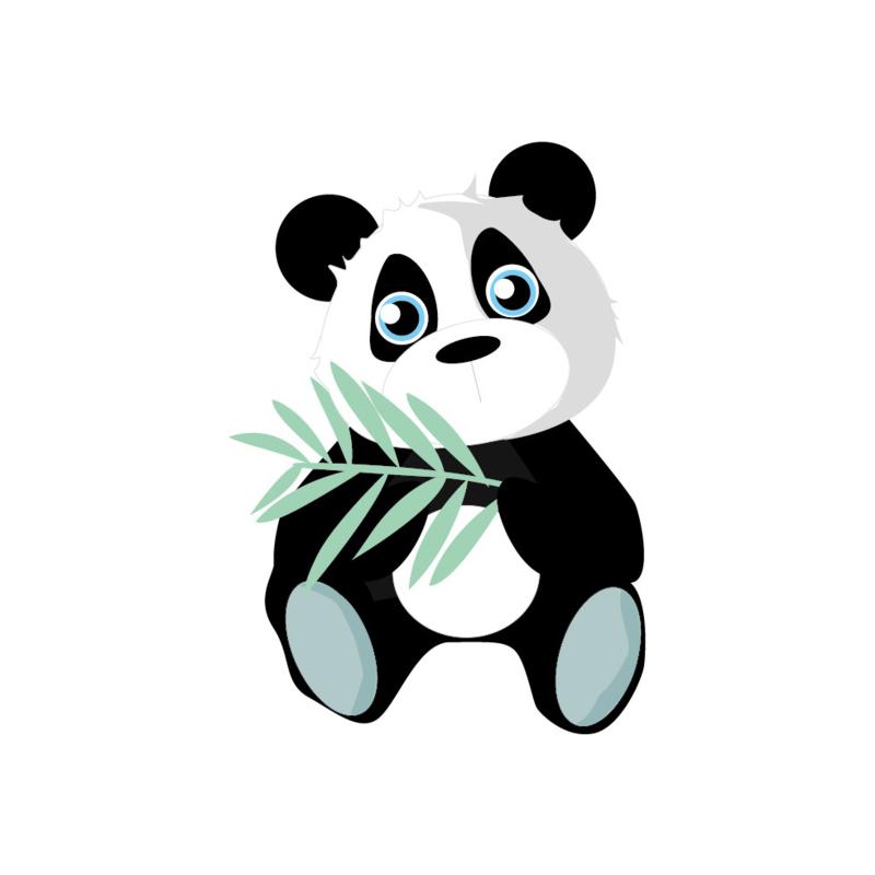 Jungly jungle - Panda muursticker - 24x17cm