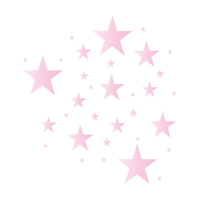 Sterren muursticker mix - licht roze tinten -  33 stuks