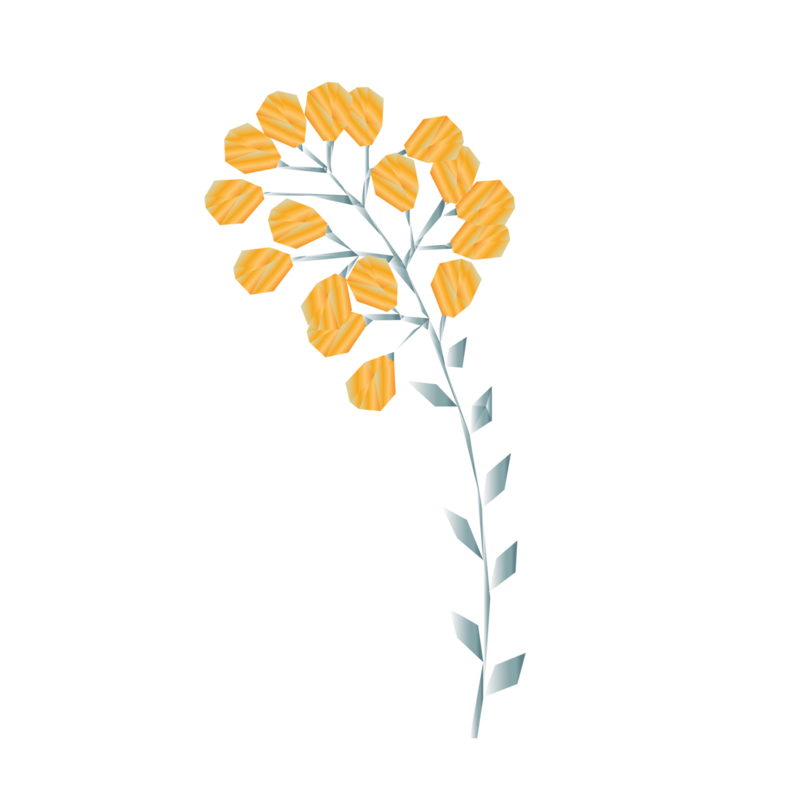 Diamond Forest Friends - gele bloemen muursticker - 5 stuks