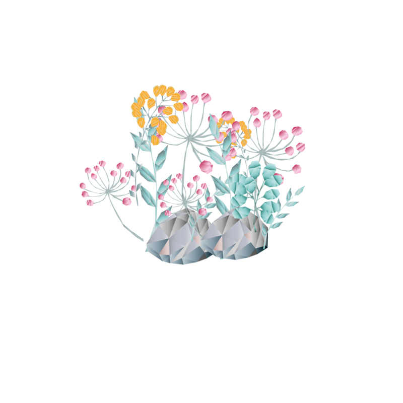 Diamond Forest Friends - takjes blaadjes en bloemen set muursticker