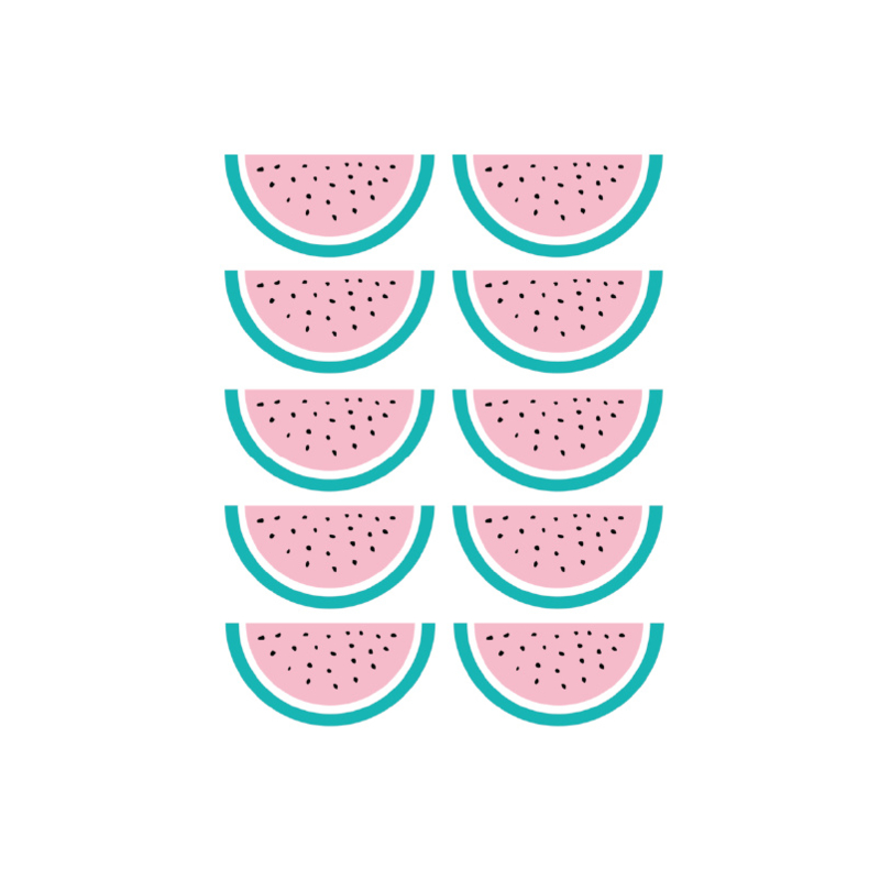 Watermeloen muursticker - 10 stuks - 8x5cm