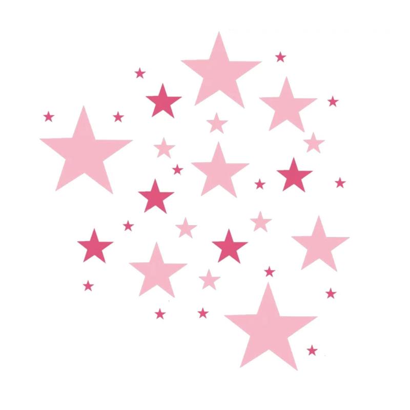 Roze tinten sterren muursticker mix - 33 stuks