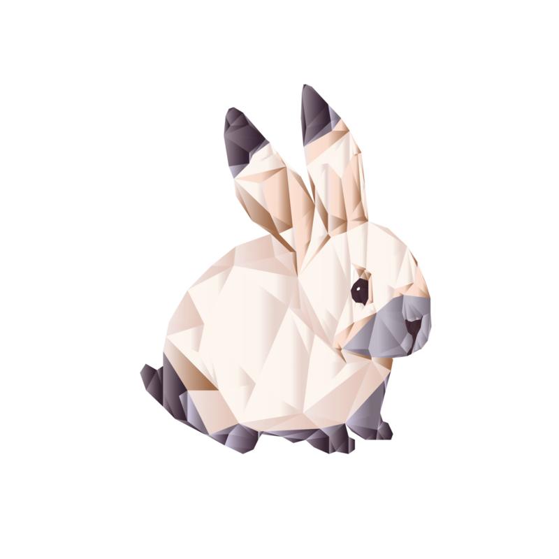 Diamond Forest Friends - konijn muursticker