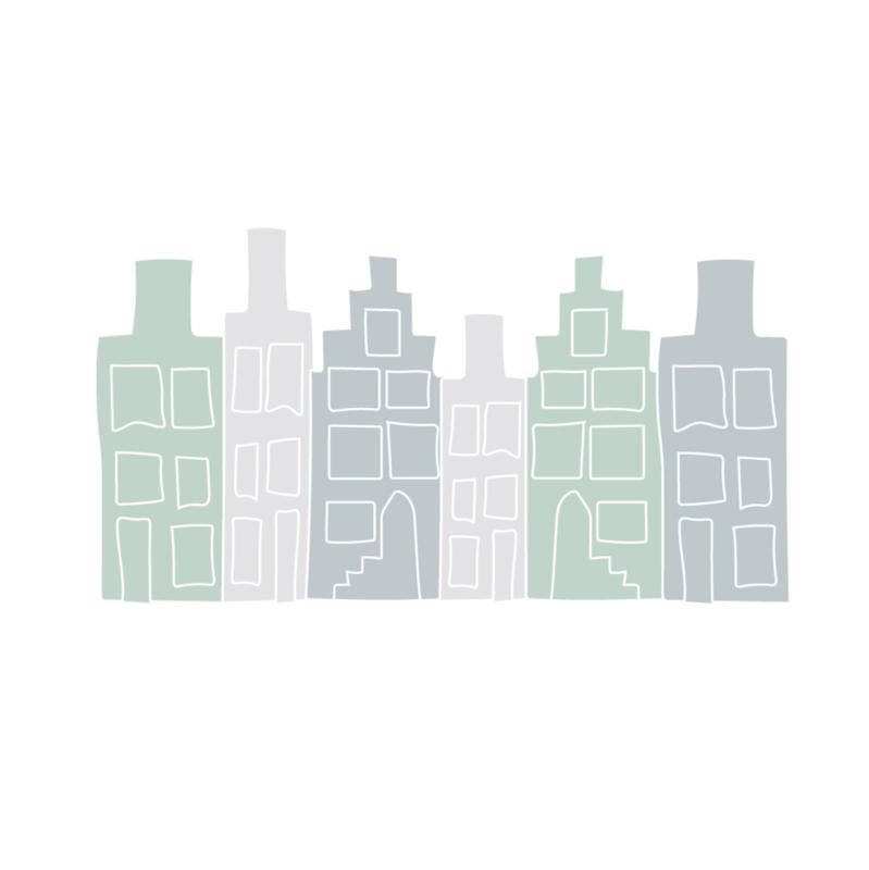 Huisjes muurstickers - grijs/groen - 50x30cm
