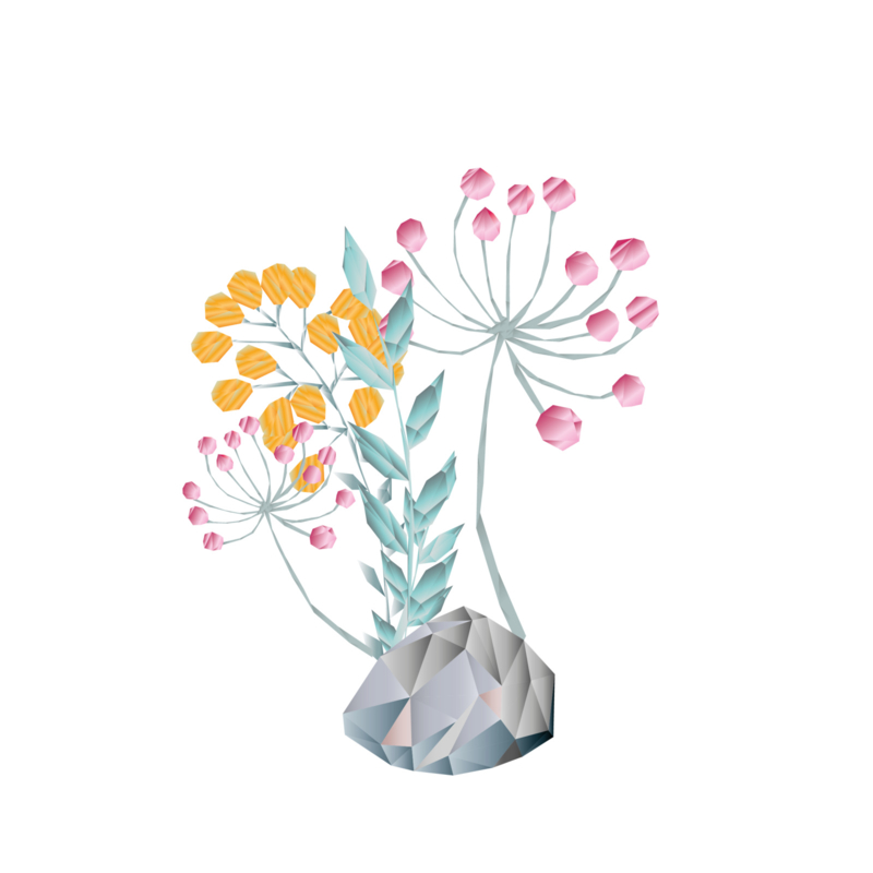 Diamond Forest Friends - takjes en bloemen bij steen  muursticker