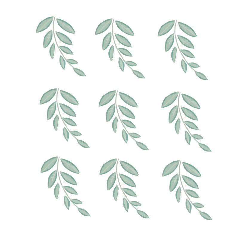 Groene takjes muurstickers - 9 stuks - 10x12cm
