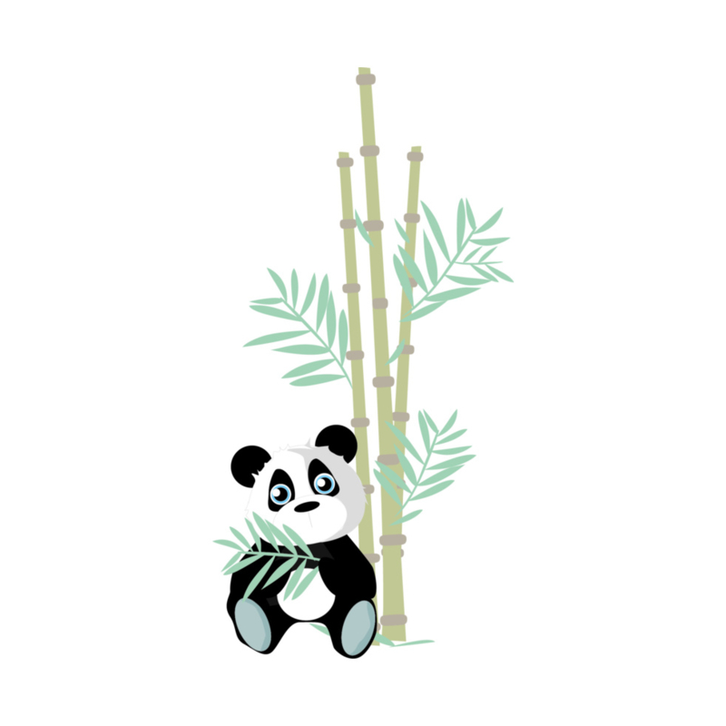 Jungly jungle - Panda met bamboe muursticker - 30x60cm