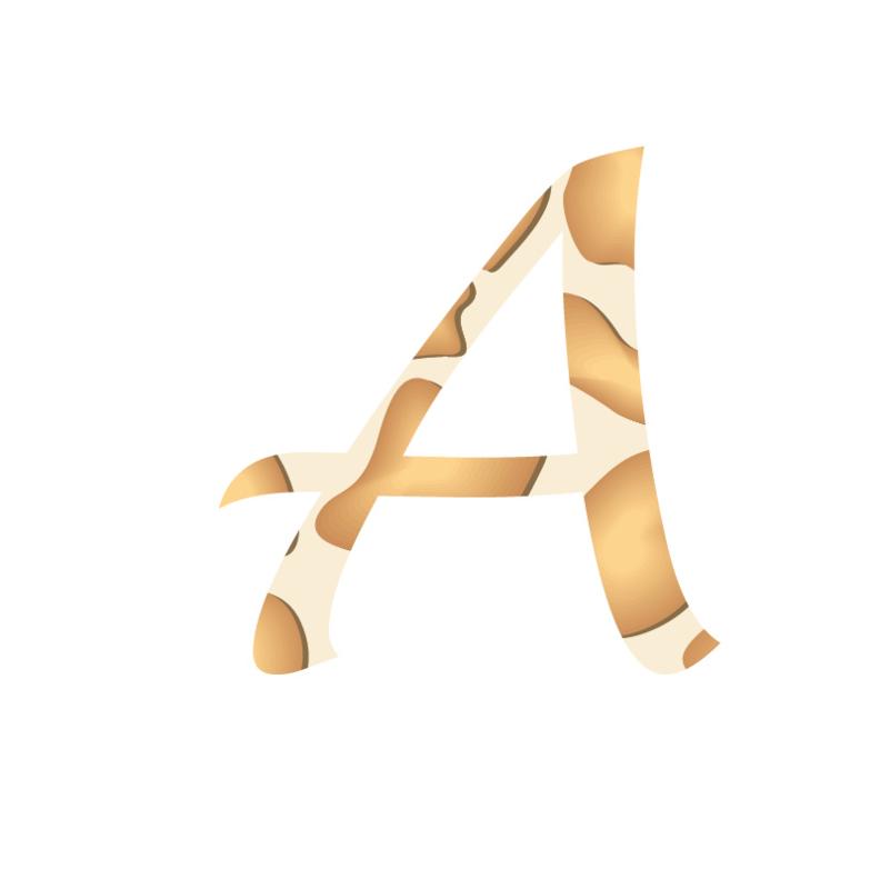 Letter muurstickers giraf print - Keuze uit A t/m Z