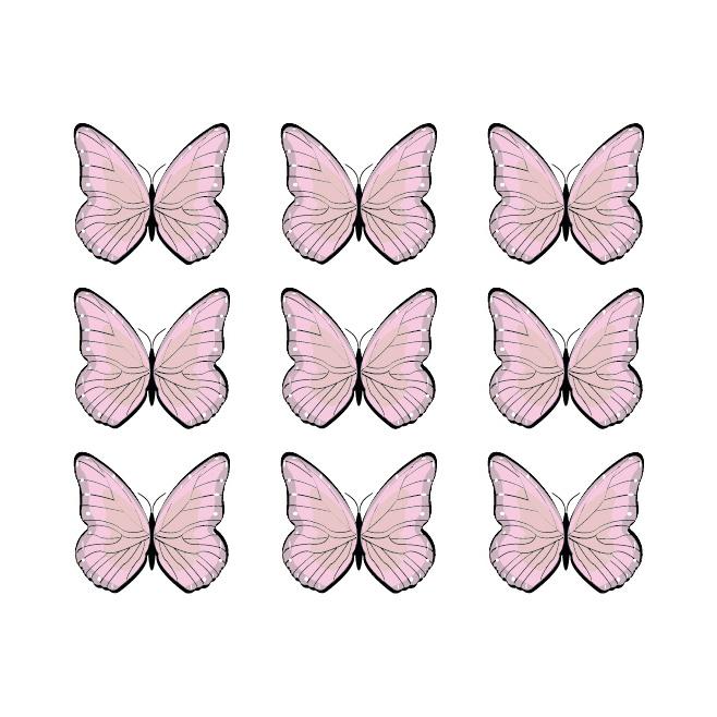 Jungly jungle - Vlinder muurstickers 9st - 5x5cm