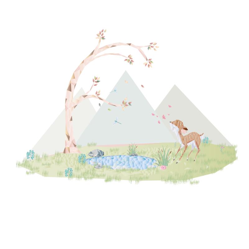 Diamond Forest Friends - hertje bij vijver muursticker