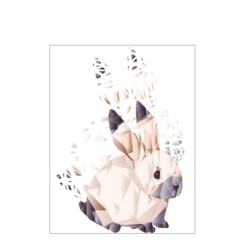 Diamond Forest Friends - konijn - Poster A4/A3