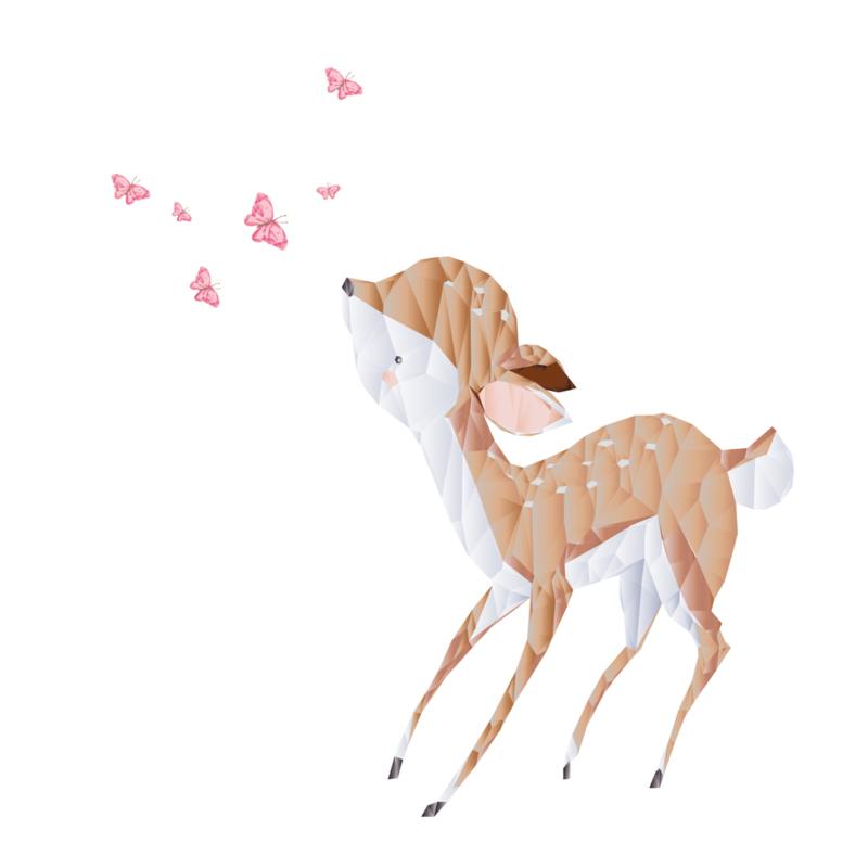 Diamond Forest Friends - hert met vlinders muursticker