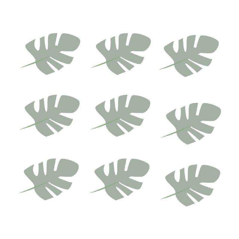 Jungly jungle - Bladeren muurstickers leger groen - 10x7cm