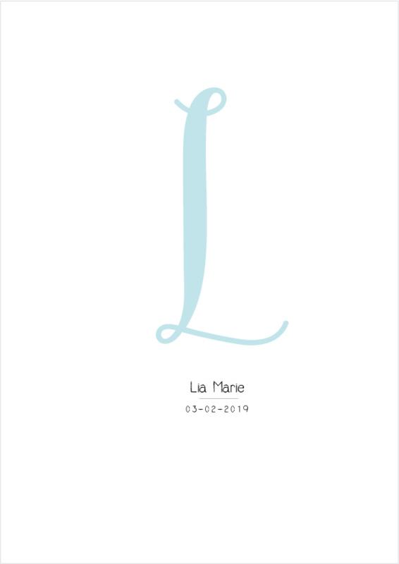 Letter poster Blauw -  A4/A3 - Vul een naam in..