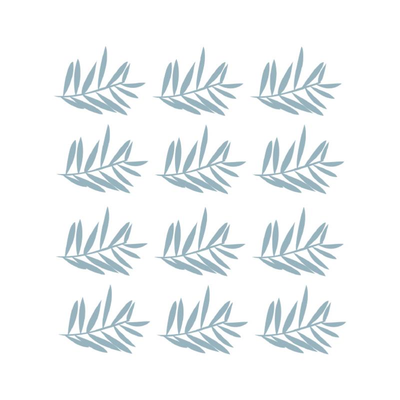 Jungly jungle - Takjes muurstickers grijs blauw 12st - 12x10cm