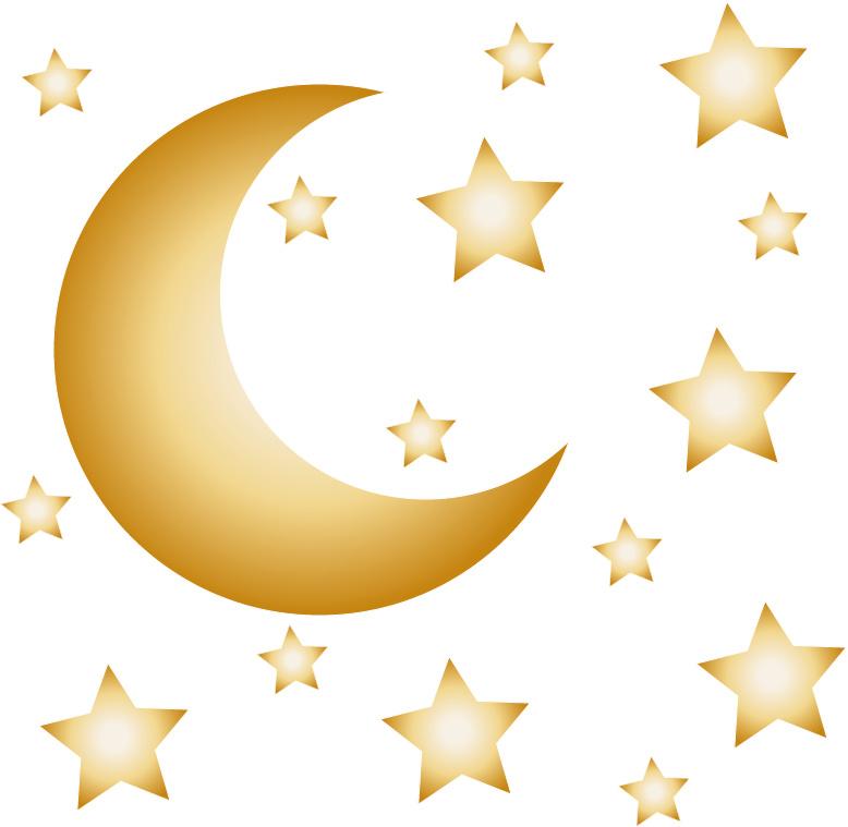 Maan en sterren muurstickers goud