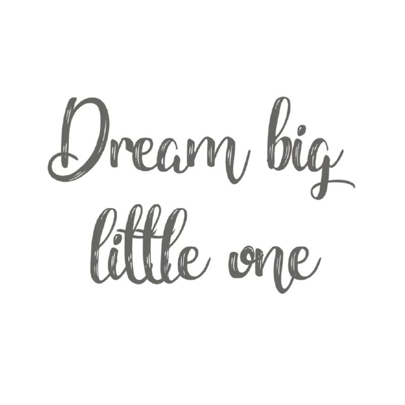 Indianen dieren - Tekst muursticker; Dream big little one - 30x19cm