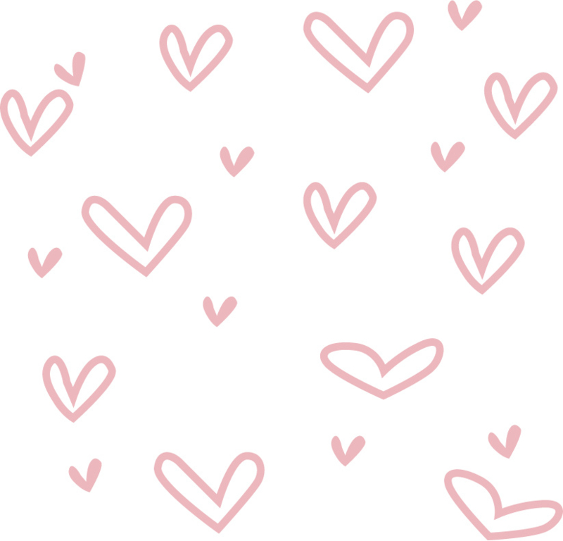 Hartjes muurstickers roze - 5x5cm - 40 stuks