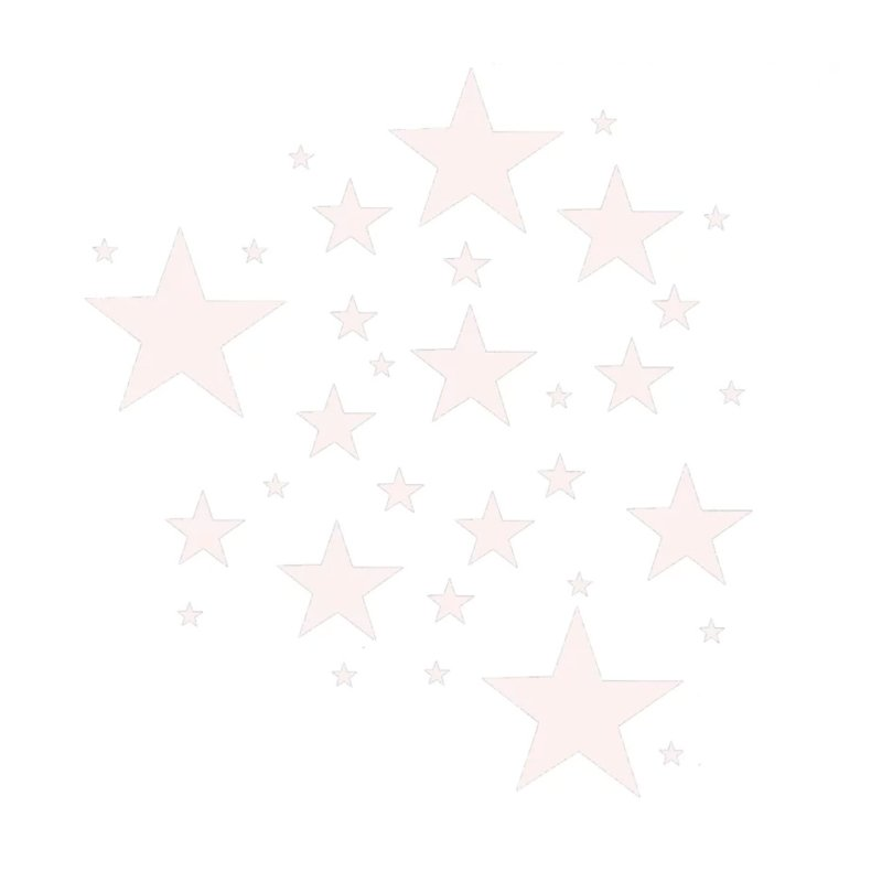 Witte sterren muursticker mix - 33 stuks